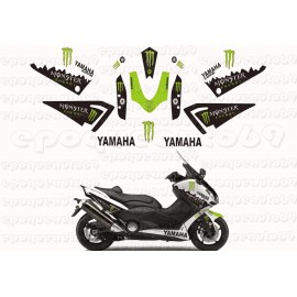 Kit autocollants Stickers Yamaha T-max 530 Monster energy