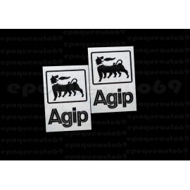 2 Autocollants Stickers AGIP fond transparent
