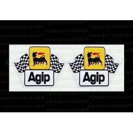 Autocollant sticker AGIP drapeaux