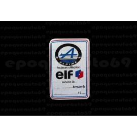 Autocollants Stickers ELF Alpine entretien périodique