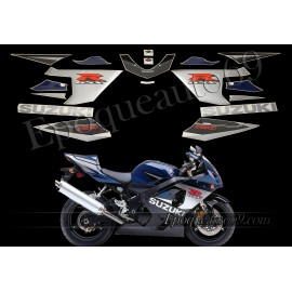 Kit autocollants - stickers Suzuki GSX-R 750 2005 version noir / bleu foncé