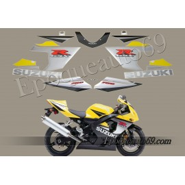 Kit autocollants -stickers Suzuki GSX-R 750 2005 version Jaune / Noir