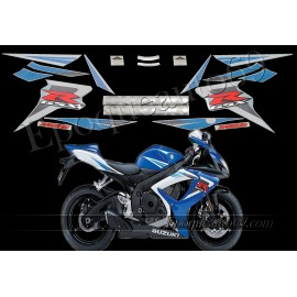 Kit autocollants stickers Suzuki GSX-R 750 2006 version blanc/bleu