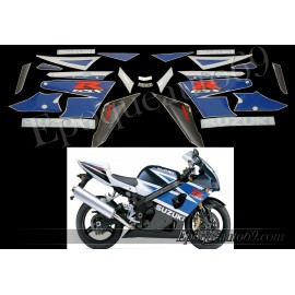 Kit autocollants stickers Suzuki GSX-R 1000 2003 - blanc / bleu