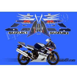 Kit autocollants stickers Suzuki GSX-R 1000 2004 version blanc / bleu