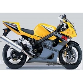 Autocollants stickers Suzuki GSX-R 1000 2004 version jaune / gris