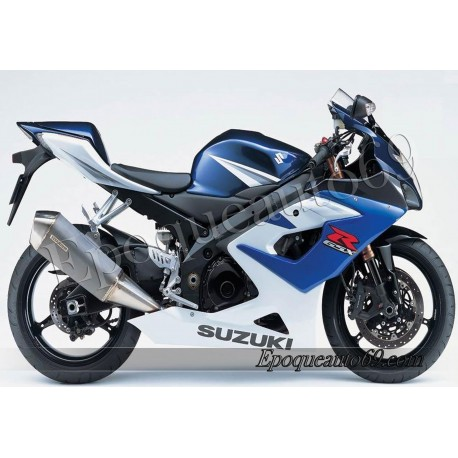 Kit autocollants stickers Suzuki GSX-R 1000 2005 version blanc / bleu