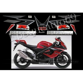 Kit autocollants stickers Suzuki GSX-R 1000 2006 version noir / rouge