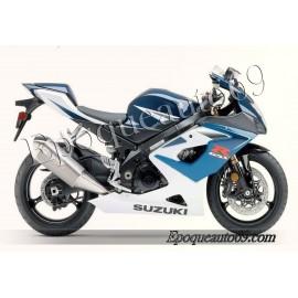 Kit autocollants sticker Suzuki GSX-R 1000 2006 version blanc / bleu