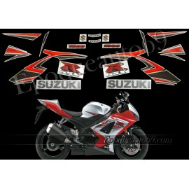 Kit autocollants stickers Suzuki GSX-R 1000 2007 version argent / rouge