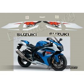 Kit autocollants stickers Suzuki GSX-R 1000 2009 version Blanc/bleu