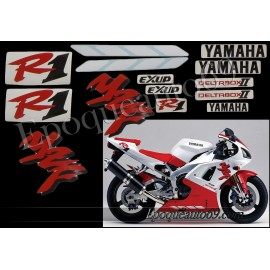 Kit autocollants Stickers Yamaha YZF-R1 1998 version blanc / rouge