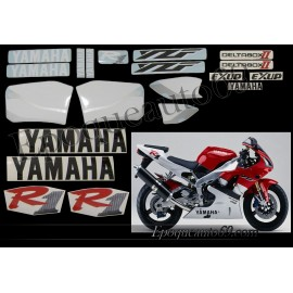 Kit autocollants Stickers Yamaha YZF-R1 1999 version blanc / rouge