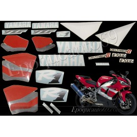 Kit autocollants Stickers Yamaha YZF-R1 2000 version rouge