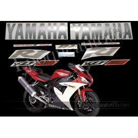 Kit autocollants Stickers Yamaha YZF-R1 2002 version rouge