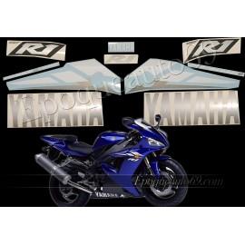 Kit autocollants Stickers Yamaha YZF-R1 2003 version bleu