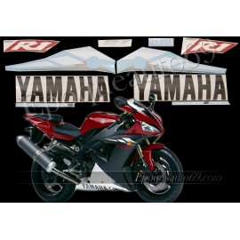 Kit autocollants Stickers Yamaha YZF-R1 2003 version rouge