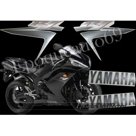Kit autocollants stickers Yamaha YZF-R1 2007 version noir /argent