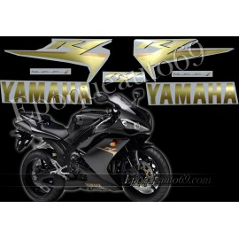 Kit autocollants stickers Yamaha YZF-R1 2007 version noir / or