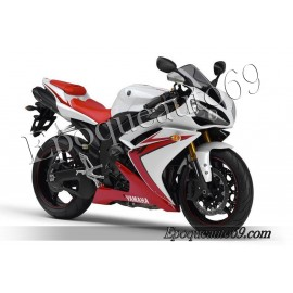 Kit autocollants stickers Yamaha YZF-R1 2007 version blanc / rouge