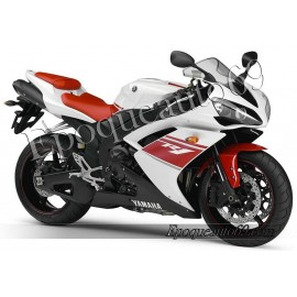 Kit autocollants stickers Yamaha YZF-R1 2008 version blanc / rouge
