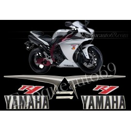 Kit autocollants stickers Yamaha YZF-R1 2009 version blanc / rouge