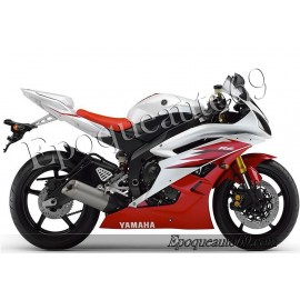 Autocollants stickers Yamaha YZF-R6 2006 - version blanc / rouge
