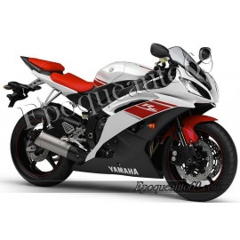 Kit autocollants Stickers Yamaha YZF-R6 2008 - version blanc / rouge