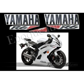 Autocollants Stickers Yamaha YZF-R6 2010 - version blanc