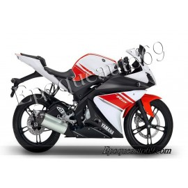 Autocollants stickers Yamaha YZF-R125 2008 - blanc / rouge