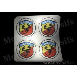 4 autocollants stickers ABARTH cache moyeu centrale jantes