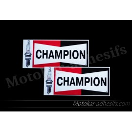 2 autocollants stickers Champion