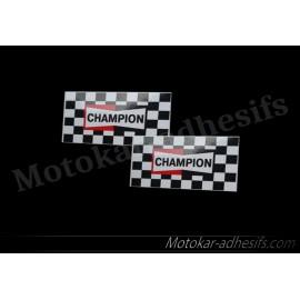 2 autocollants stickers Champion drapeaux
