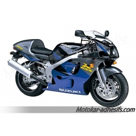 Autocollants - stickers Suzuki GSX-R 600 1997 version gris/violet/jaune