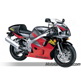 Autocollants - stickers Suzuki GSX-R 600 1997 version Rouge/ gris / noir