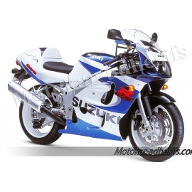 Autocollants - stickers Suzuki GSX-R 600 1999 version blanc/bleu