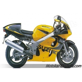 Autocollants - stickers Suzuki GSX-R 600 1999 version Jaune Noir