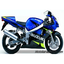 Autocollants - stickers Suzuki GSX-R 600 de 2001 version bleu/noir