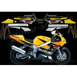 Autocollants - stickers Suzuki GSX-R 600 2002 Version jaune/noir