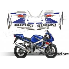 Autocollants - stickers Suzuki GSX-R 600 2002 bleu/argent