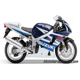 Autocollants - stickers Suzuki GSX-R 600 2003 version Blanc/bleu