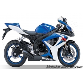 Autocollants - stickers Suzuki GSX-R 600 2006 version Blanc/bleu