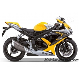 Autocollants - stickers Suzuki GSX-R 600 2008 version jaune/argent