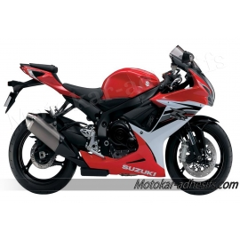 Autocollants - stickers Suzuki GSX-R 600 2013 version Rouge/Blanc