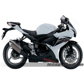 Autocollants - stickers Suzuki GSX-R 600 2013 version Blanc/noir