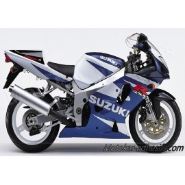 Autocollants - stickers Suzuki GSX-R 750 2001 version Blanc bleu