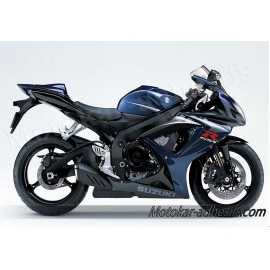 Autocollants stickers Suzuki GSX-R 750 2007 version noir/ bleu foncé