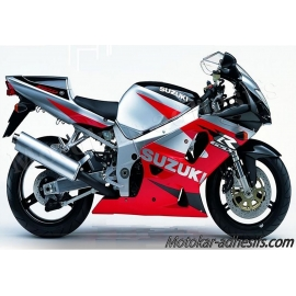 Autocollants - stickers Suzuki GSX-R 750 2001 version Rouge / argent / Noir