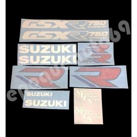 Autocollants - stickers Suzuki GSX-R 750 1988-1989 blanc bleu